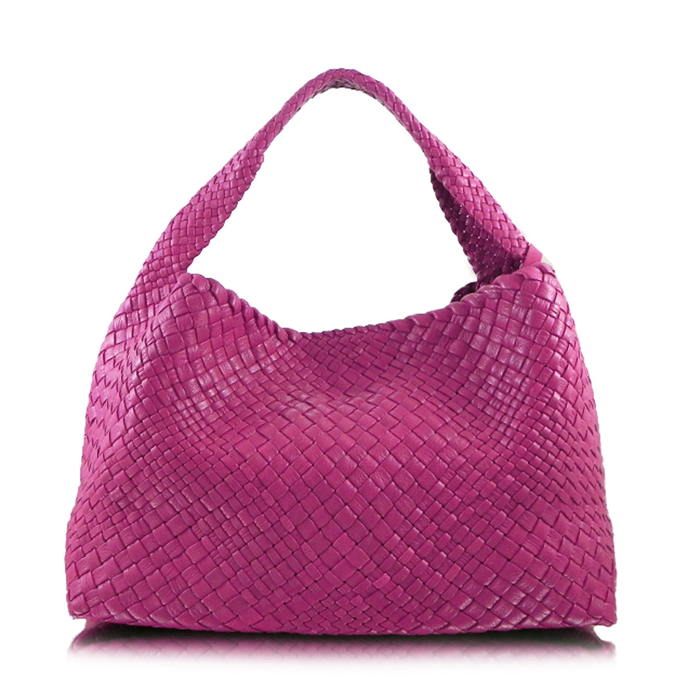 Ghibli woven leather shoulder bag in pink